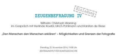 ZEUGENBEFRAGUNG IV:  Wilhelm Christoph Warning im Gespräch mit Herlinde Koelbl, Ulrich Pohlmann und Karsten de Riese