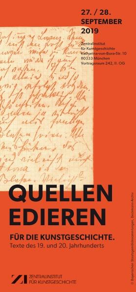 Tagung: Quellen edieren für die Kunstgeschichte. Texte des 19. und 20. Jahrhunderts