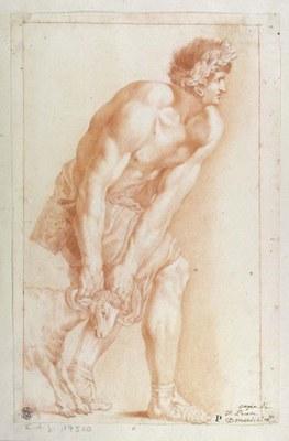Vincenzo Pacetti (nach Domenichino), Männliche Figur, die einen Widder führt, Rötel über einer Vorzeichnung mit schwarzem Stift © Staatliche Museen zu Berlin, Kupferstichkabinett