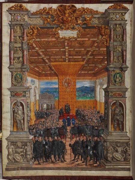 Herzog Albrecht V. von Bayern empfängt Gesandte; Bayerische Staatsbibliothek München, BSB Mus.ms. A I(1, Seite 4