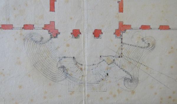 Vortrag_Georg_Satzinger_Balthasar Neumann, Entwurf zur Gartentreppe von Schloss Poppelsdorf, Detail (Wien, ÖNB)