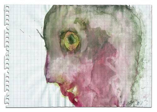 Rosa Maria Krinner, o.T., 13.11.08/2, Wasserfarbe, Bleistift auf Papier, 14,5 x 21 cm