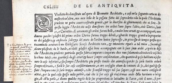 Sebastiano Serlio, Bücher zur Architektur (Venedig 1551), aus dem Besitz Vincenzo Scamozzis, mit eigenhändigen Anmerkungen, S. CXLIIII