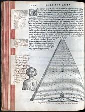 Sebastiano Serlio, Bücher zur Architektur (Venedig 1551), aus dem Besitz Vincenzo Scamozzis, mit eigenhändigen Anmerkungen, S. XCIIII
