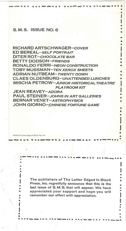 Abschiedsbrief und Inhaltsverzeichnis von S M S 6