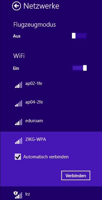 WLAN Windows 8.1 - Abb. 4