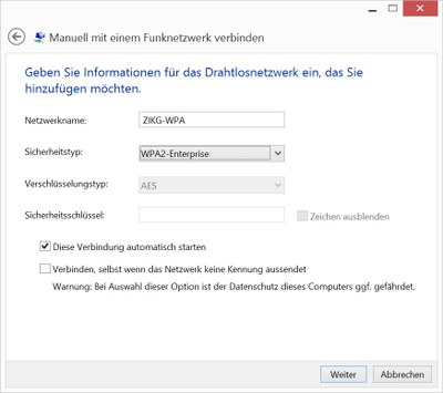 WLAN Windows 8.1 - Abb. 1