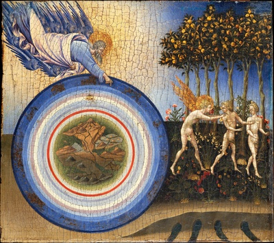 Giovanni di Paolo, The Creation of the World and the Expulsion from Paradise, Tempera and Gold on Wood, 46.4 x 52.1, 1445, Metropolitan Museum (© Metropolitan Museum - CC0 1.0)