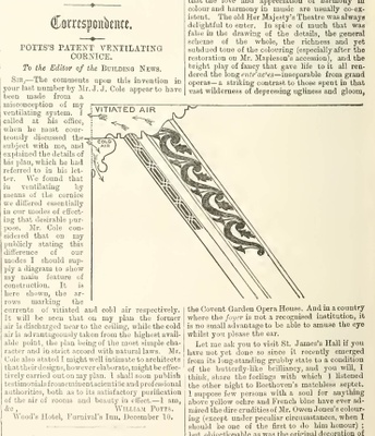 'Pott's Patent Ventilating Cornice', a decorative prototype for a new ventilation system, as featured in The Building News (18 December 1868)