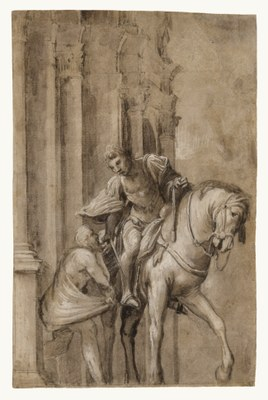 Lorenzo Lotto, 'Saint Martin Dividing his Cloak with a Beggar', c.1530, brush with grey-brown wash with white heightening over black chalk on brown paper, 314 x 217 mm (Los Ang