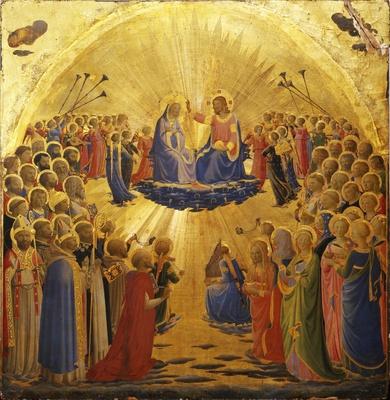 Projekt_S.Quené_Fra Angelico, Paradiso, ca. 1431–1435. Mischtechnik mit Gold und Silber auf Holz, 112 x 114 x 3,7 cm. Gallerie degli Uffizi, Firenze. Inv. 1890, no. 1612.