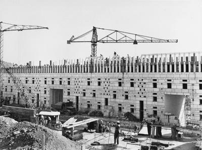 Baustellenaufnahme von Climat de France, Algier, Mai 1956. Archives des Pierres Sauvages de Belcastel